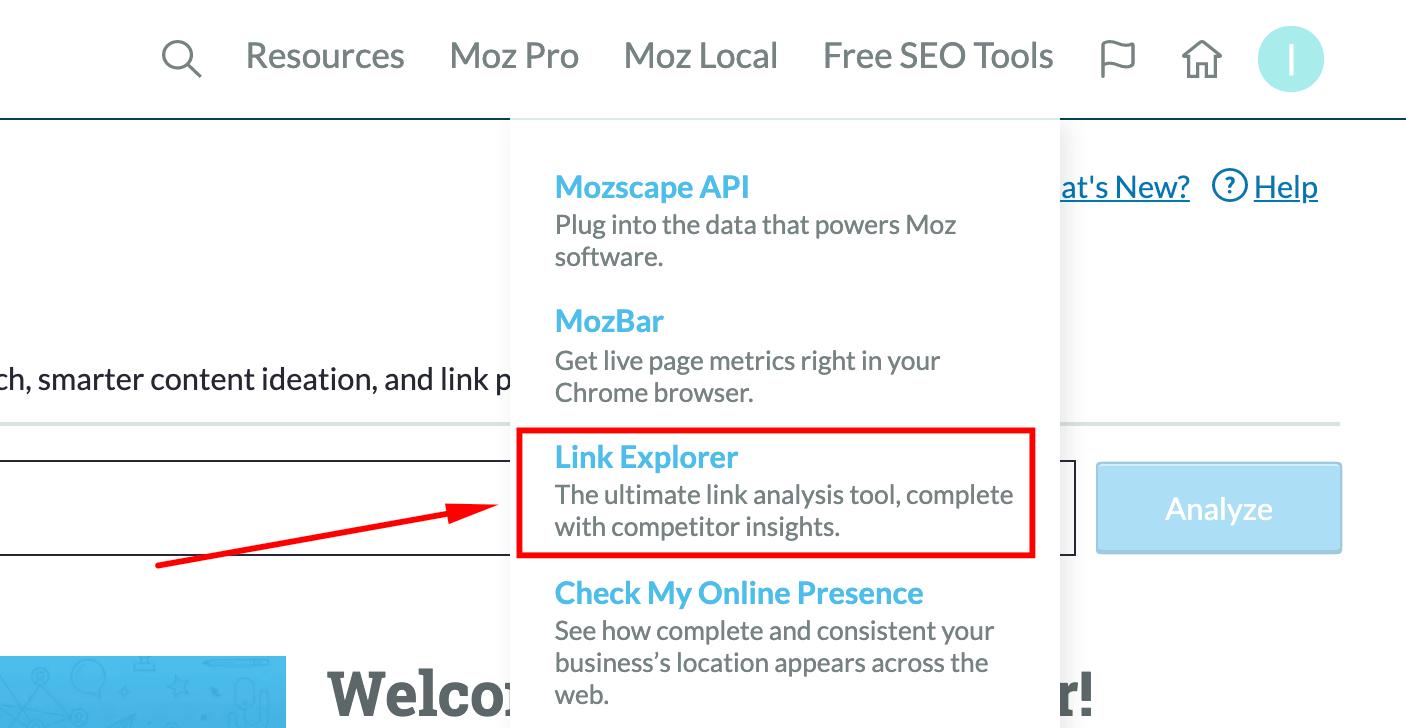 menu link explorer MOZ