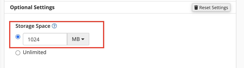 Setting kapasitas Email